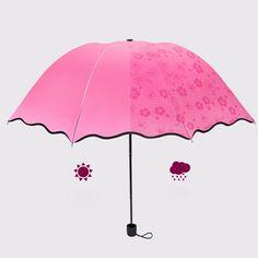 2017 Women Girls Umbrella Water Magic Flower Bloom Parasol Folding Anti-UV Sunny And Rainy Umbrella Guarda Chuva Invertido #Affiliate