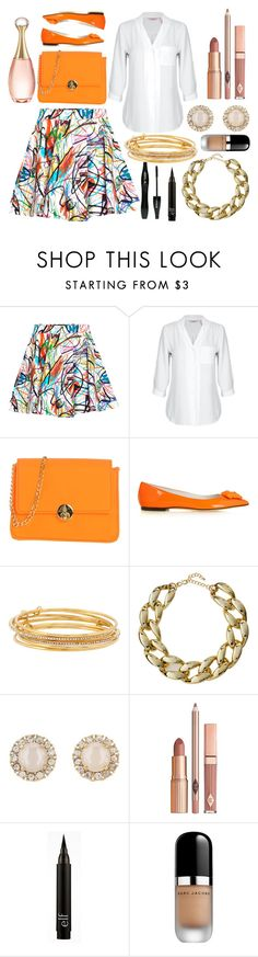 """""""Orange Flats"""" by princess13inred ❤ liked on Polyvore featuring Jeremy Scott, Camomilla, Versace, Kate Spade, Kenneth Jay Lane, Dolce Vita, Lancôme, Marc Jacobs and Christian Dior"""