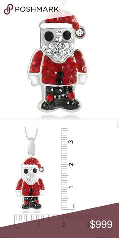 "NEW ARRIVAL! Crystal Santa Necklace White gold plated, necklace with clear, black and red crystals. Perfect for the holiday season!! 18"" Chain included. Jewelry Necklaces"