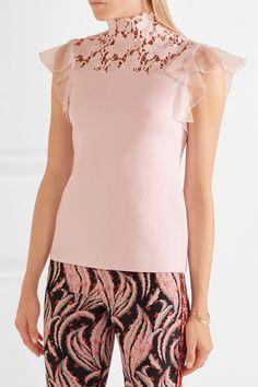 Giambattista Valli   Silk-organza and guipure lace-trimmed jersey top   NET-A-PORTER.COM