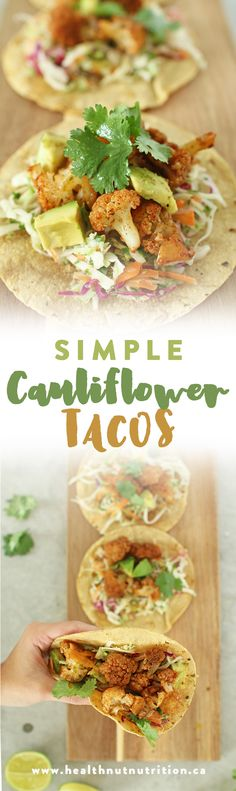 Revamp your taco Tuesday with these Simple Cauliflower Tacos. They're delicious, healthy and SO easy to make! Cauliflower is also a great meat substitute! Cauliflower Tacos, Meat Substitutes, Taco Tuesday, Meatless Monday, Gnocchi, Healthy Recipes, Healthy Meals, Healthy Eating, Pizza