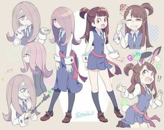 From left to right: Sucy Manbavaran and Kagari Akko (篝 アッコ). Manga Anime, Fanarts Anime, Anime Characters, Anime Art, Character Design References, Character Art, Lwa Anime, Anime Witch, My Little Witch Academia