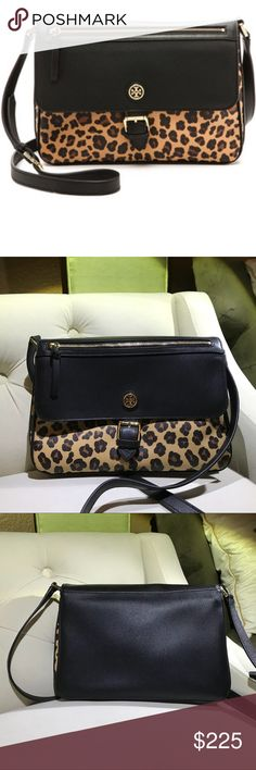 "Tory Burch Kerrington Large crossbody Tory Burch animal print Ocelot bag. Crossbody adjustable strap.gold hardware zipper pocket on front flap.Gold Tory Burch logo on front. Magnetic snap closure. Two separate compartments zipper pocket Two slip compliments. Animal print lining. Light scuffs on top of flap .Light scuffs on bottom.please see pictures. Excellent condition EUC 11 1/2 width 8"" height Tory Burch Bags Crossbody Bags"