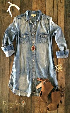 NOTE** THIS WILL BE RESTOCKED ON 07/12/16. PRE-ORDERS WILL SHIP IMMEDIATELY UPON ARRIVAL. Ultra-versatile Denim Shirtdress. Features two front lapel pockets as well as two side pockets. Full button-up