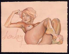 Original Art Erotic Gouache Painting Lounge Act di Shockeyrotica
