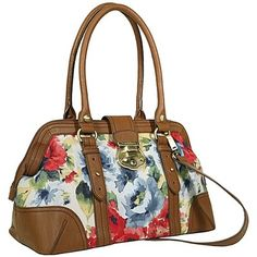 ETIENNE AIGNER BROWN LEATHER FLORAL RED BLUE YELLOW ROSE HANDBAG SATCHEL Iphone