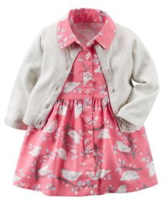 Baby Girl 2-Piece Woven Dress & Sweater Set | Carters.com