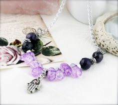 Sahasrara necklace - amethyst and glass beads