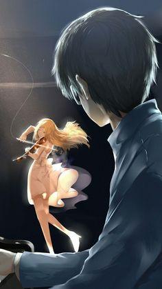 Shigatsu wa Kimi no Uso (Your Lie in April) Fanart Manga, Chica Anime Manga, Anime Couples Manga, Cute Anime Couples, Otaku Anime, Anime Guys, Anime Art, Wallpaper Animes, Animes Wallpapers