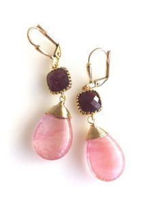 Grapefruit Pink and Burgundy Dangle Earrings. Drop by RusticGem