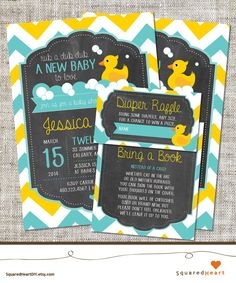 Rubber Duck Baby Shower Invitation Rubber Duck by SquaredHeartDIY