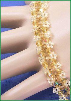 05-275 Yellow AB Bicone and Lemon Ice Ceylon by annsbeadedjewelry