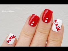 DOTTING TOOL NAIL ART #12 / Red & White Valentine's Day Heart Nails - YouTube