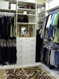 diy Design Fanatic: An Organized Closet!!!   Wow to finally see a closet that is small like mine.  We need to do this to our closet!!!!!!