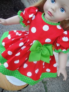 Red and Green Christmas Dress for American Girl Doll. $13.00, via Etsy.