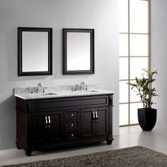 "Transitional 60"" Double Sink Bathroom Vanity Espresso on ebay"