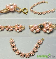 make the third part of the pink and white pearl bead bracelet