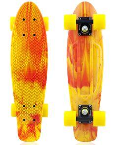 penny+board | PENNY RED YELLOW MARBLE SKATEBOARD | Buy Online Australia! Looks like fiyaaaahhh...