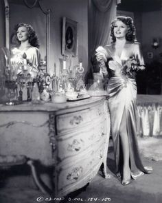 Rita Hayworth at her vanity table