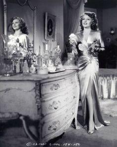 Rita Hayworth at her vanity table