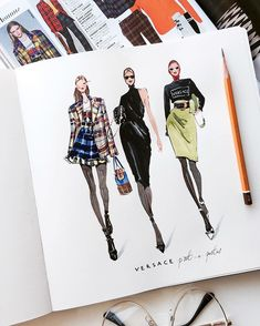 Fashion Drawing – 75 Picture Ideas – Drawing Ideas and Tutorials Fashion Design Portfolio, Fashion Design Drawings, Fashion Sketches, Dress Sketches, Drawing Fashion, Portfolio Design, Fashion Sketchbook, Art Sketchbook, Fashion Illustration Dresses