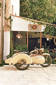 Kastellorizo: A vintage motorbike and sidecar in Kastellorizo, Greek Islands, Greece. Photo by Oliver Pilcher for Condé Nast Traveller