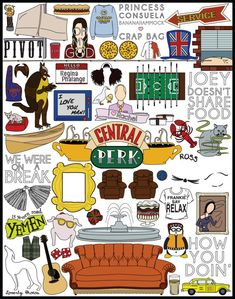 OH. MY. GOD!!! I NEED this in my life!! totally ordering this! I know what every single lil image means!! OBSESSED!!! Friends TV Show Print on Etsy, $15.00
