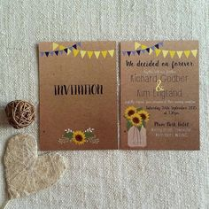 Rustic Sunflower Wedding Invitation - sunflower / blue / yellow / kraft / bunting   Check out this item in my Etsy shop https://www.etsy.com/uk/listing/234236971/rustic-bunting-sunflower-wedding