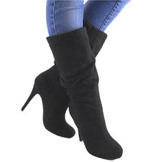 Razi by Paprika New Womens Black High Heel Midcalf Slouch Boots Size 10