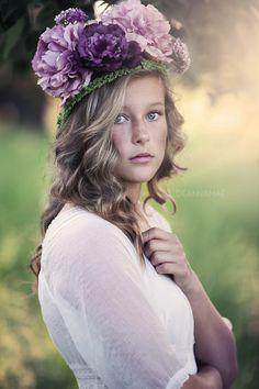 Beauty Creative Flowers Purple Portrait Curly Hair