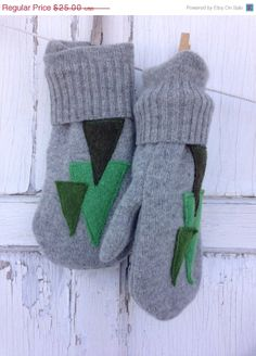 AFTER CHRISTMAS SALE Felted Wool Mittens Christmas by whimsiedots, $17.50