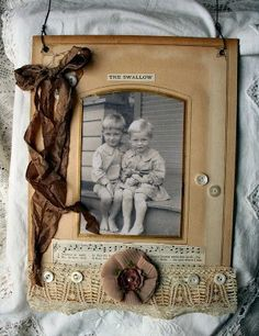 I created these little altered cabinet card album pages using antique backgrounds from an old album. Little scans of some of my newer cabinet cards were added to the inserts, and vintage lace, mother of pearl buttons, prima flowers, and old sheet music were added. A rustic wire hanger for the top