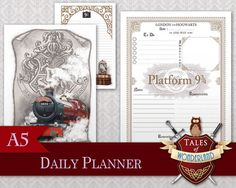 A special collection around the theme of the Hogwarts Express. Get ready for September and join us on the Platform 9 ¾, on board of the train to Hogwarts ! This is an undated Daily Planner, to print as many times as you need.  This set also includes : - a Cover page of the Hogwarts Express that you may use as divider - a Notes page that you can print as many times as you need  This product is perfect for your A5 Filofax or any similar sized organizer. Also available in Personal size…