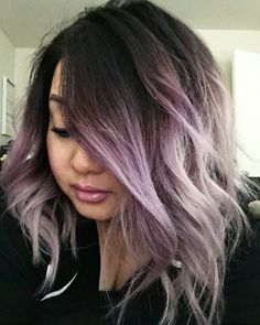 Smokey purple ombré hair and long bob                                                                                                                                                                                 More