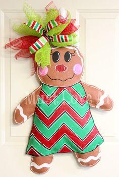 Gingerbread Girl Burlap Door Hanger Christmas by MustLoveArtStudio, $38.00