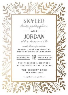 """""""Gilded Glyph"""" - Rustic, Hand Drawn Foil-pressed Wedding Invitations in Gold by pandercraft."""