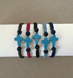 Blue Howlite Cross Christian Bracelet Cross Bracelet Greek