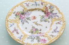 18th Century, Rare Antique and Ornate French Choisy-le-Roy, Handpainted, Rococo Style, Plate, France, Seine, Collectible - ca. - 1786 - 1886