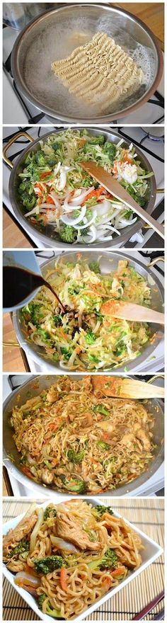 How To Make Chicken Yakisoba Ingredients ½ head green cabbage 1 medium yellow onion 2 medium carrots 1 small crown broccoli 2 inches. I Love Food, Good Food, Yummy Food, Tasty, Chicken Yakisoba, Cooking Recipes, Healthy Recipes, Cheap Recipes, Healthy Food