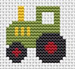 Beginning Cross Stitch Embroidery Tips - Embroidery Patterns - Fat Cat Cross Stitch – Easy Peasy – Tractor - Cross Stitch Beginner, Small Cross Stitch, Cross Stitch For Kids, Cross Stitch Borders, Cross Stitch Baby, Counted Cross Stitch Kits, Cross Stitch Designs, Cross Stitch Patterns, Butterfly Cross Stitch