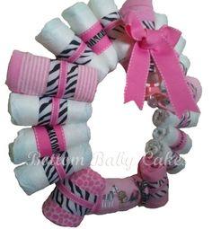 Baby Girl Pink Zebra Diaper Wreath Shower Gift by BottomBabyCakes, $44.95