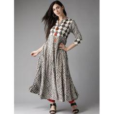 HERE&NOW Grey & Off-White Checked Anarkali Kurta