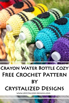This Crayon Water Bottle Cozy Free Crochet Pattern by Crystalized Designs is per. This Crayon Water Bottle Cozy Free Crochet Pattern by Crystalized Designs is perfect for back to sc Crochet Craft Fair, Crochet Cozy, Crochet Gratis, Crochet For Kids, Free Crochet, Crochet Ideas To Sell, Crochet Bags, Crochet Pet, Crochet Summer