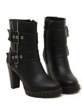Sexy zipper belt buckle decorate high-heeled short boots  $ 16.77
