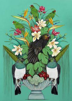 Kaka's Floral Kingdom -xl by Kathryn Furniss - prints Art Maori, New Zealand Art, Nz Art, Madhubani Art, Kiwiana, Wall Art For Sale, Bird Art, Doodle Art, Contemporary Artists