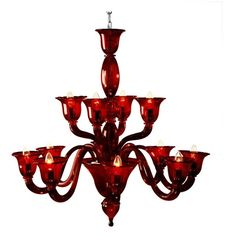 Voltolina Laguna - Murano Handmade Glass 12-arm Chandelier ($2,530) ❤ liked on Polyvore