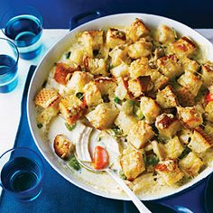 Suggested by Sunset Facebook fan Melinda Velayo.Everyone loves chicken potpie, but it takes 2 hours to make. We've traded from-scratch pie dough for homemade croutons, creating a great potpie in half the time.