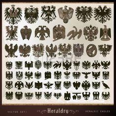 heraldic elements eagles Vector