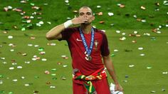 Portugal's Pepe expresses his joy at winning the 2016 European championship for his country.