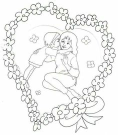 Mother's Day Coloring Pages for Kids - Preschool and Kindergarten Mothers Day Coloring Pages, Colouring Pages, Printable Coloring Pages, Coloring Pages For Kids, Coloring Books, Mothers Day Crafts, Happy Mothers Day, Art Drawings For Kids, Art For Kids
